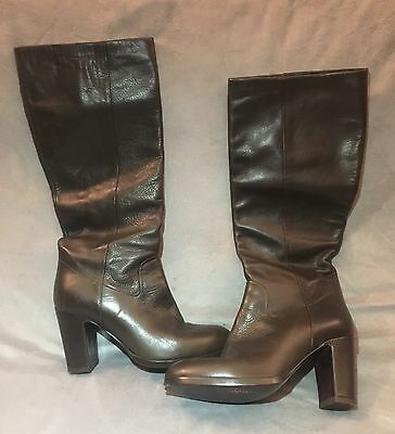 6310e28deff CO OP BARNEYS NEW YORK BROWN LEATHER CHUNKY HEEL KNEE HIGH BOOTS Size 36