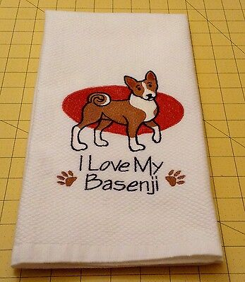 I Love My Basenji Embroidered Kitchen Hand Towel 100% cotton, Xlarge