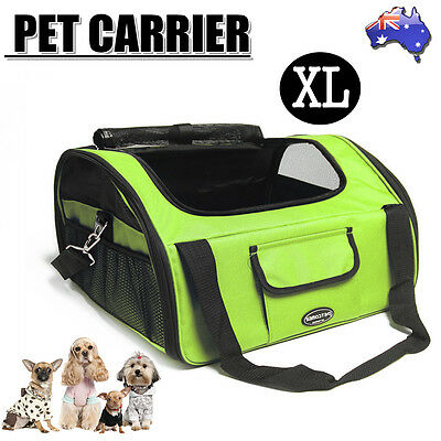 Pet Carrier Dog Cat Car Booster Seat Portable Soft Cage Travel Bag Small Green
