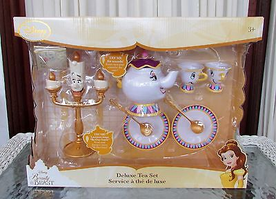 Disney Store Deluxe Beauty and the Beast Singing Tea Set Lumiere Mrs. Potts Chip