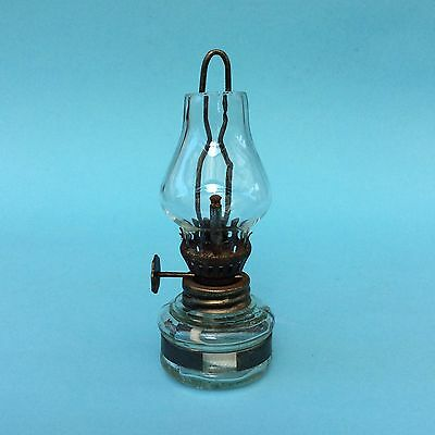 VINTAGE MINIATURE OIL LAMP CLEAR GLASS Wall Hanging Frame Collectable HK 11cm