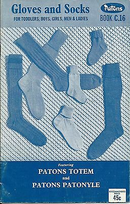 Gloves and Socks - Vintage Patons Knitting Book C.16 - 1960s