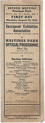 Hastings Park Official Programme 1943 Horse Races Thoroughbred Vancouver