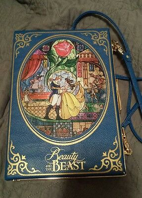 Disney Torrid Beauty and the Beast book purse clutch crossbody NEW stained glass