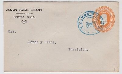 Costa Rica PSE Cover Stationery Columbus Local Use 1922