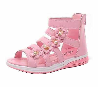 Kids Girls Summer Princess Flower Dress Sandals Gladiator Ankle Boot Party Shoes