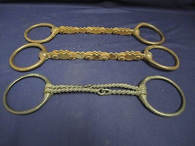 Vtg 3 Harsh Western English Horse Ring Snaffle Bits Bicycle Chain Twist Wire