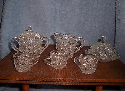 Vintage Child's Toy Patterened Clear Glass 6 Piece Dish Set~Covered Dish~Cups~ +