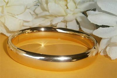 ANTIQUE VINTAGE 1940's 12CT GOLD GF DOMED HINGED BANGLE BRACELET