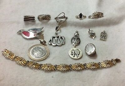 "Vintage .925 Sterling Silver ""15 Pc. Lot"". Miscellaneous Pieces. NOT SCRAP! 75g."