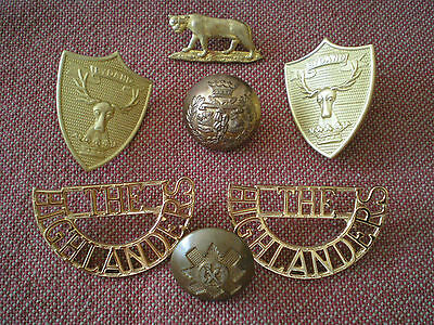 WW1 - Modern Scottish Regiments Collar, Shoulder & Sporran Badge & Button Group