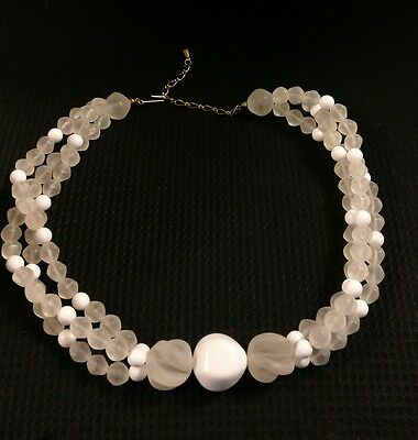 Vintage Frosted Clear & White Carved Lucite Classic Bead Adjustable Necklace