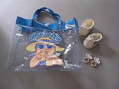 Vintage 1985 Cabbage Patch Kids - Pair: Sneakers Shoes - Beach Bag - Hair Clips