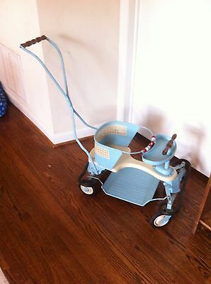 Antique Taylor Tot Blue and White Metal Stroller