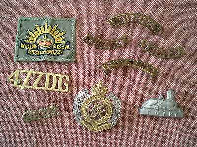 WW1 - 1980s British & Australian Cap, Collar, Shoulder Badge Group