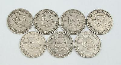 1933-1946 New Zealand Shilling Set, 1/-, Silver Coin Collection, Bulk Lot x 7