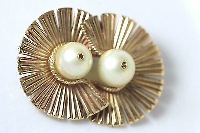 Vintage 9K Solid Yellow Gold Pearl Brooch