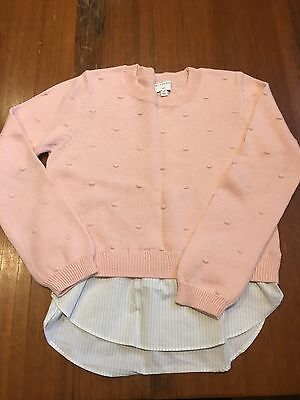 Witchery Girls Jumper Knit Pink White Stripe Shirt  Size 10 NWOT