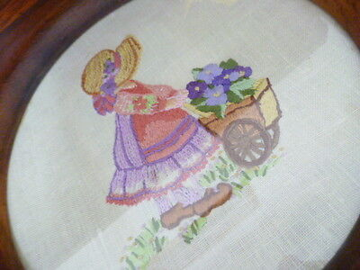 Hand Embroidered Wood Frame round  Picture 1920's child & flowers