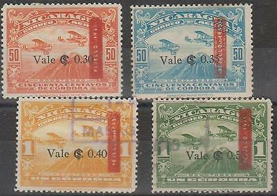 NICARAGUA - 1935-36 Air Post (crease C120). Scott 117-120. Two mint, two used