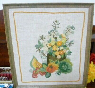 Vintage Hand Embroidered Wooden Frame Picture Flowers and fruit design.
