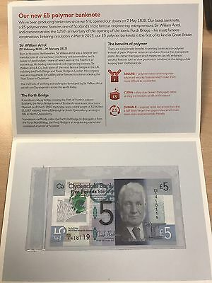 Clydesdale Bank Polymer £5 pound notes in Commemorative Folder