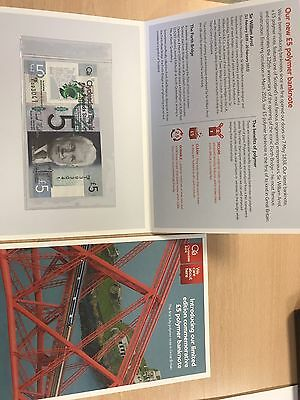 Clydesdale Bank Polymer £5 pound notes in Commemorative Folder & Booklet