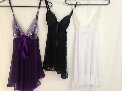 3 x brand new size 16 negligee in purple black and white