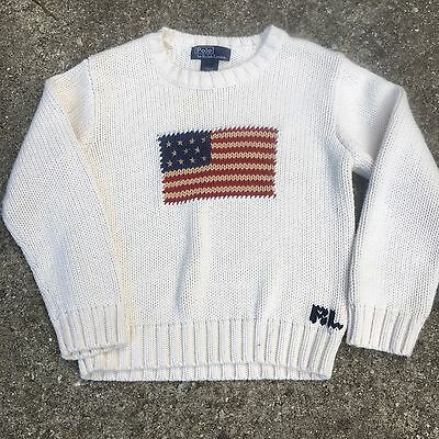 Rare vintage hand knit knitted Ralph Lauren Polo flag sweater usa cookie 6 bear