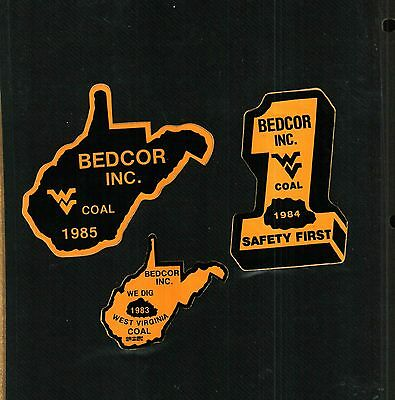 3 Different Nice Bedcor Inc. Coal Mining Stickers # 535