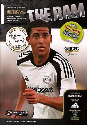 DERBY COUNTY v MANCHESTER UNITED League Cup Semi-Final 2nd Leg 2008/09 MINT