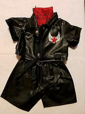 """TEDDY BEAR Outfit EASY RIDER BIKER CLOTHES Fit 14-18"""" Build-a-bear New"""
