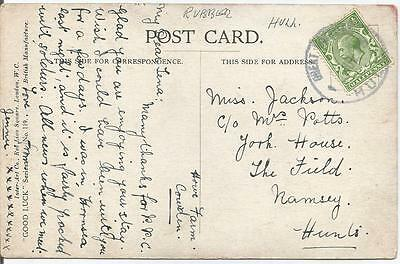 HULL RUBBER CANCEL ON KING GEORGE V ½d GREEN REF 765