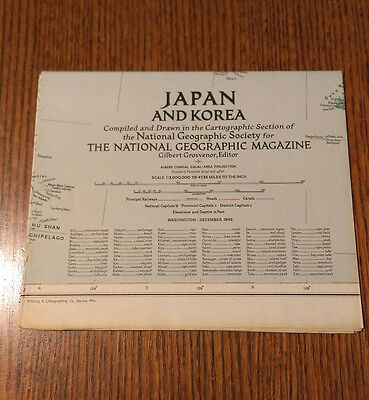 *NEW* VINTAGE National Geographic Map, Japan and Korea, December 1945
