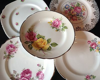 """20 pink/pink floral bone china vintage tea/cake plates. Approx 6"""". Cake stands."""