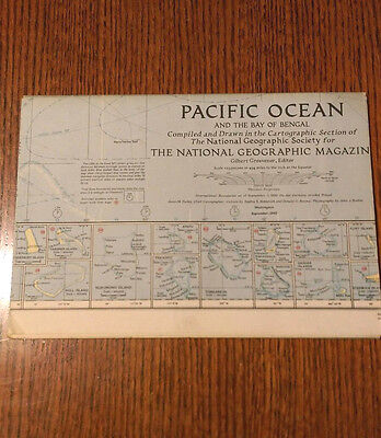 *NEW* VINTAGE National Geographic Map, Pacific Ocean Bay Bengal, September 1943