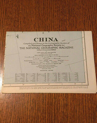 *NEW* VINTAGE National Geographic Map, China, June 1945