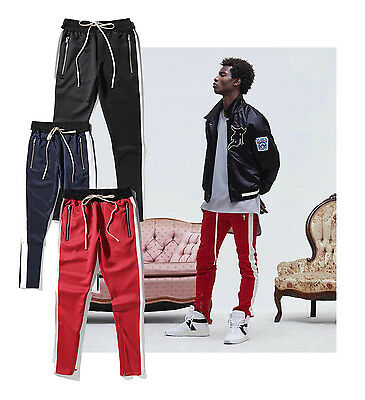 Falection 17ss Black Line Embroidery Strap Polyster Sweatpants Slim Pants GOD