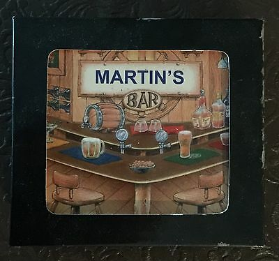 Martin's Bar Name Set Of 6 Cork Backed Coasters