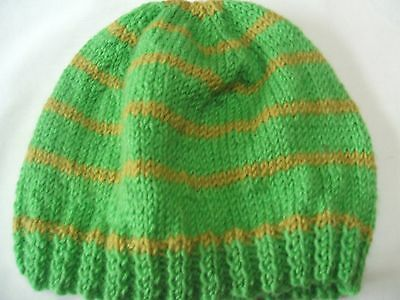 Childs Hand Knitted Beanie In Pure Wool Various Colours