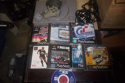 lot console sony playstation 1 ps1 + 8 jeux