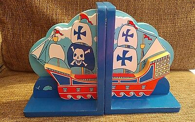 Pirate Ship book ends wooden boys room childrens bookends