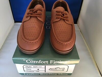 Mens Bowlrite Tan Leather Bowls Shoes Lace New With Box Size 11 Uk