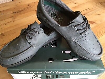Mens Bowlrite Grey Lace Leather Bowls Shoes New With Box Size 6