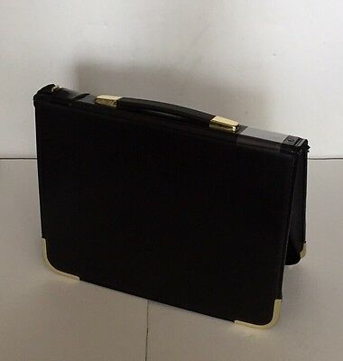 Presentation Case - Bonded Leather with Handle/Zip/Metal Corners - Black