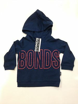 NWT Bonds Baby Boys Navy with Red Print Hoodie Tee Jumper Size 00/0/1 RRP$26.95