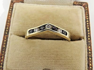 A Nice Vintage 375 9ct Yellow Gold Sapphire & White Stone Wishbone Ring