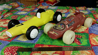 antique old toy plastic race cars