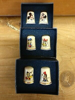 Boxed Set Of Six Mickey Mouse Etc Thimbles Made In England New Never Displayed