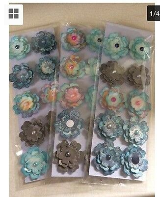 Pack Of 30 Distressed Handmade Paper Flower Embellishments 3D Scrapbook Planner